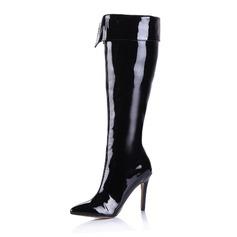 Kvinnor Lackskinn Stilettklack Over The Knee Boots med Zipper skor